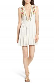 Band of Gypsies Embroidered Plunging Dress at Nordstrom