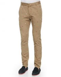 Band of Outsiders Embroidered-Foulard Chino Pants at Neiman Marcus