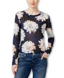Bar III Daisy-Print Snit Top Blue Notte  at Amazon
