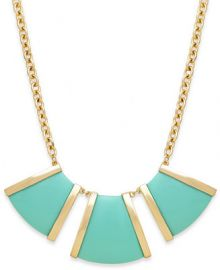 Bar III Gold-Tone Mint Stone Frontal Necklace at Macys