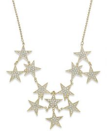 Bar III Gold-Tone Pav Stars Statement Necklace at Macys