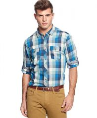 Bar III Long-Sleeve Plaid Button-Down Shirt - Casual Button-Down Shirts - Men - Macys at Macys