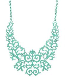 Bar III Mint-Tone Lace Design Bib Necklace at Macys