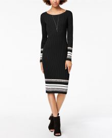 Bar III Ribbed-Knit Midi Sweater Dress at Macys