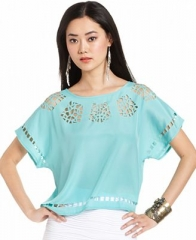 Bar III Scoop Neck Cutout Top at Macys
