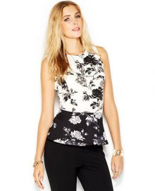 Bar III Sleeveless Printed Scuba Peplum Top - Women - Macys at Macys