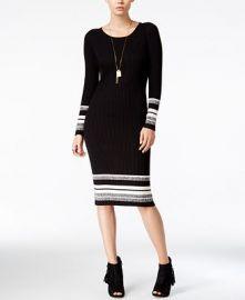 Bar III Striped Sweater Dress Black Combo M at Amazon