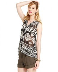 Bar III Top Sleeveless V-Neck Printed Tank - Tops - Women - Macys at Macys