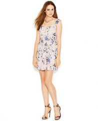 Bar III sleeveless floral print aline dress at Macys