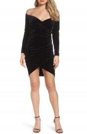 Bardot Alex Off the Shoulder Velvet Body-Con Dress at Nordstrom