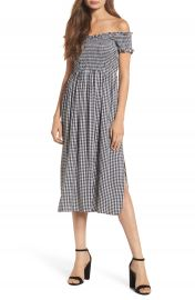 Bardot Gingham Off the Shoulder Midi Dress at Nordstrom