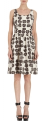 Barneys New York Abstract Dots Sleeveless Dress in white at Barneys