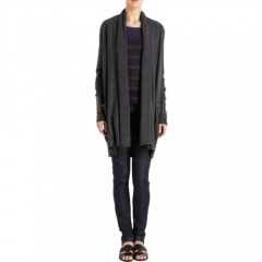 Barneys New York Leather Cuff Cardigan at Barneys