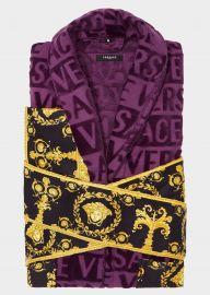 Baroque Bathrobe in Violet at Versace