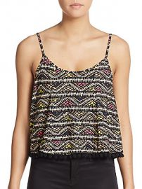 Bcbgeneration Pom Pom Printed Tank  at Saks Off 5th