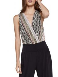 Bcbgeneration Tropical Ripple Low V-Neck Bodysuit at Lord and Taylor