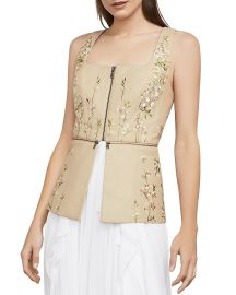 Bcbgmaxazria Embroidered Faux Leather Peplum Top at Bloomingdales