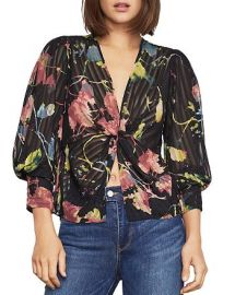 Bcbgmaxazria Floral-Print Twist-Front Blouse at Bloomingdales