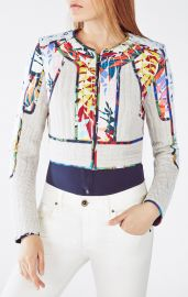Bcbgmaxazria Motley Tropical Print-Blocked Tweed Jacket at Bcbg