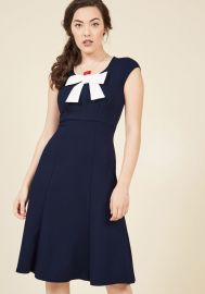 Be There With Bows On A-Line Dress in Navy x at ModCloth