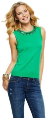 Beaded Crewneck Sleeveless Sweater at C Wonder