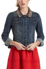 Beaded Denim Jacket at Anthropologie