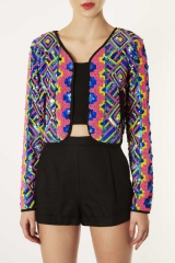 Beaded Rainbow Jacket at Topshop