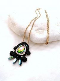 Beads of Aquarius Black Boho Chick Crystal Necklace at Etsy