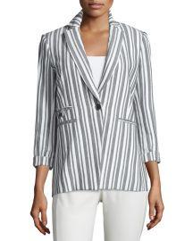 Beatriz Striped Bracelet-Sleeve Jacket by Veronica Beard at Neiman Marcus