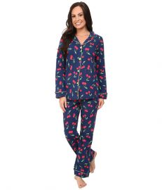 BedHead Long Sleeve Classic PJ Set Navy Cherry Pick at Zappos