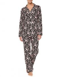 Bedhead Eiffel Tower-Print Piped Pajama Set BlackPink at Neiman Marcus