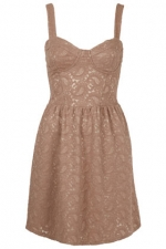 Beige lace dress at Topshop