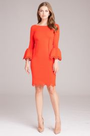 Bell Sleeve Dress with Lazer-cut Accents by Teri Jon at Teri Jon