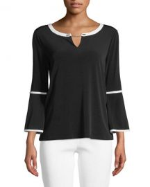 Bell-Sleeve Keyhole Top at Last Call