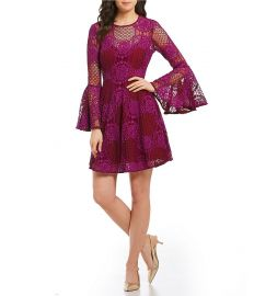 Bell Sleeve Lace Fit and Flare Dress at Amazon