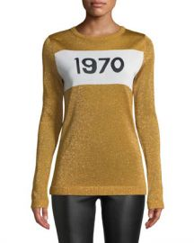 Bella Freud 1970 Sparkle Graphic Sweater at Neiman Marcus