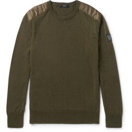 Belstaff Kerrigan Quilted Shell Trimmed Virgin Wool Sweater at Mr Porter