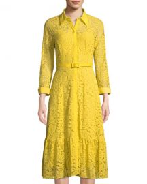 Belted Floral-Lace Illusion Shirtdress Nanette Nanette Lepore at Last Call