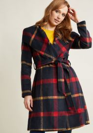 Belted Plaid Coat with Wide Collar at ModCloth