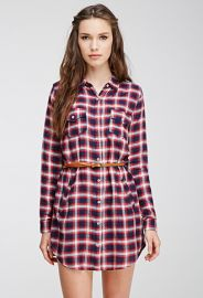 Belted Plaid Shirt Dress  Forever 21 - 2000097161 at Forever 21