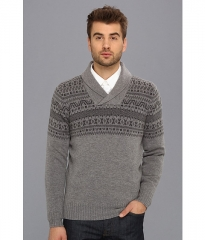 Ben Sherman Shawl Collar Fairisle Sweater Silver Chalice at 6pm