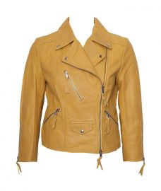 Benedetta Novi Yellow Cropped Leather Jacket at eBay