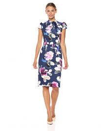 Betsey Johnson Women s Scuba Midi with Neck Tie Dress x at Amazon