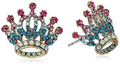Betsey Johnson  quot Princess Charming quot  Pave Crown Stud Earrings at Amazon