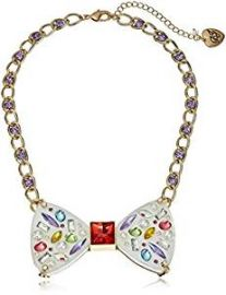 Betsey Johnson  quot Sweet Shop quot  Mixed Multi-Colored Stone Bow Necklace at Amazon