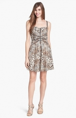 Betsey Johnson Animal Print Lace Fit andamp Flare Dress at Nordstrom