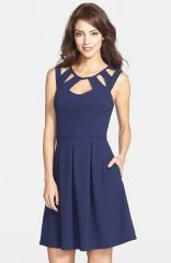 Betsey Johnson Cutout Fit andamp Flare Dress at Nordstrom