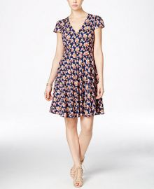 Betsey Johnson Floral-Print Cap-Sleeve Fit and Flare Dress at Macys