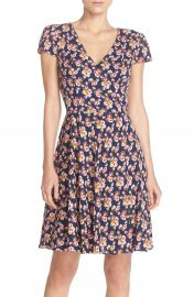 Betsey Johnson Floral Print Chiffon Fit and Flare Dress at Nordstrom