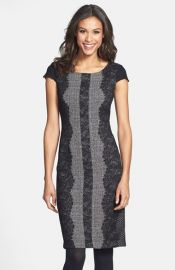 Betsey Johnson Lace Trim Tweed Sheath Dress at Nordstrom
